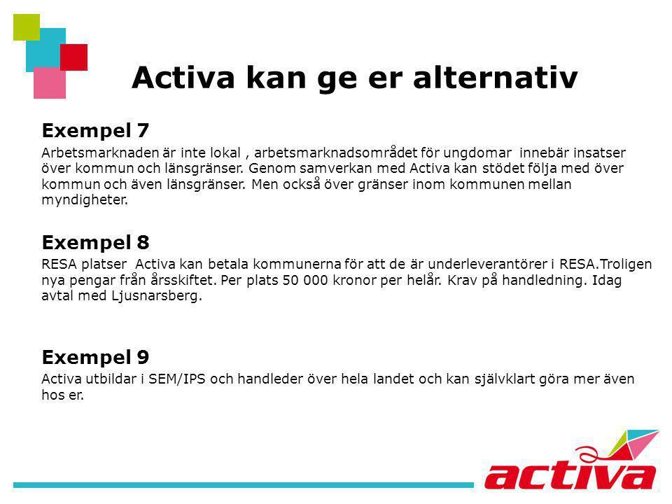 Activa kan ge er alternativ Exempel 7 Arbetsmarknaden är inte lokal, arbetsmarknadsområdet för ungdomar innebär insatser över kommun och länsgränser.
