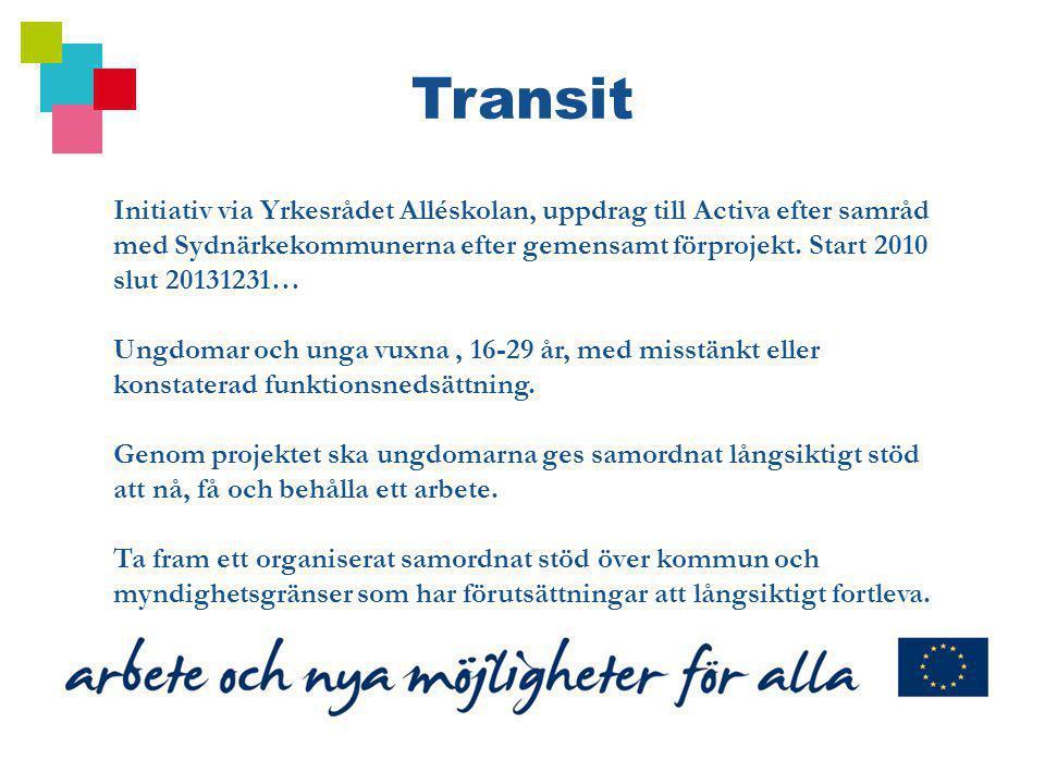 Initiativ via Yrkesrådet Alléskolan, uppdrag till Activa efter samråd med Sydnärkekommunerna efter gemensamt förprojekt. Start 2010 slut 20131231… Ung