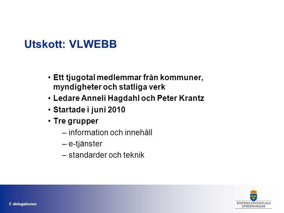 E-delegationen Utskott: VLWEBB •Ett tjugotal medlemmar från kommuner, myndigheter och statliga verk •Ledare Anneli Hagdahl och Peter Krantz •Startade i juni 2010 •Tre grupper – information och innehåll – e-tjänster – standarder och teknik