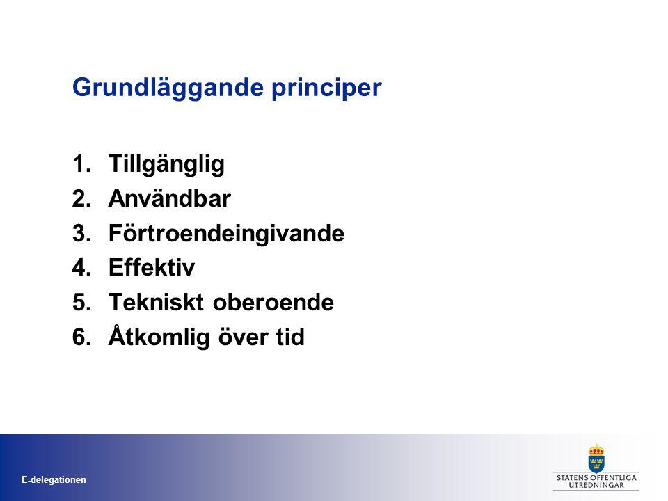 E-delegationen Grundläggande principer 1.Tillgänglig 2.Användbar 3.Förtroendeingivande 4.Effektiv 5.Tekniskt oberoende 6.Åtkomlig över tid