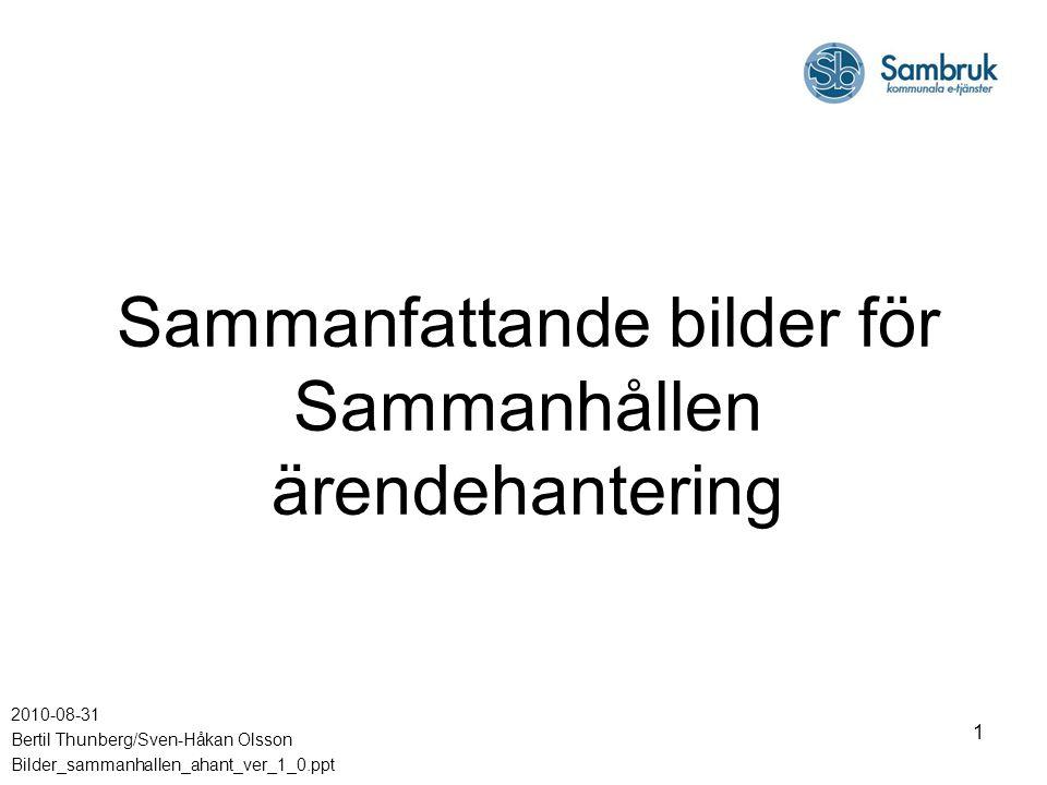 1 Sammanfattande bilder för Sammanhållen ärendehantering 2010-08-31 Bertil Thunberg/Sven-Håkan Olsson Bilder_sammanhallen_ahant_ver_1_0.ppt