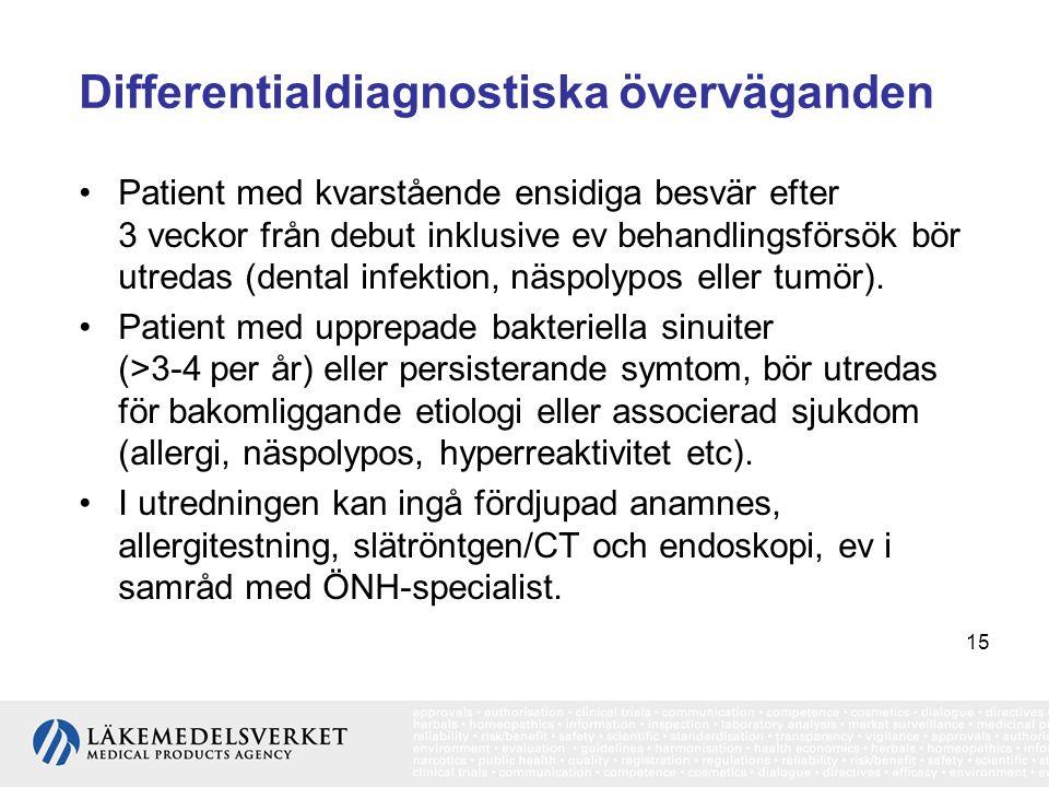 15 Differentialdiagnostiska överväganden •Patient med kvarstående ensidiga besvär efter 3 veckor från debut inklusive ev behandlingsförsök bör utredas