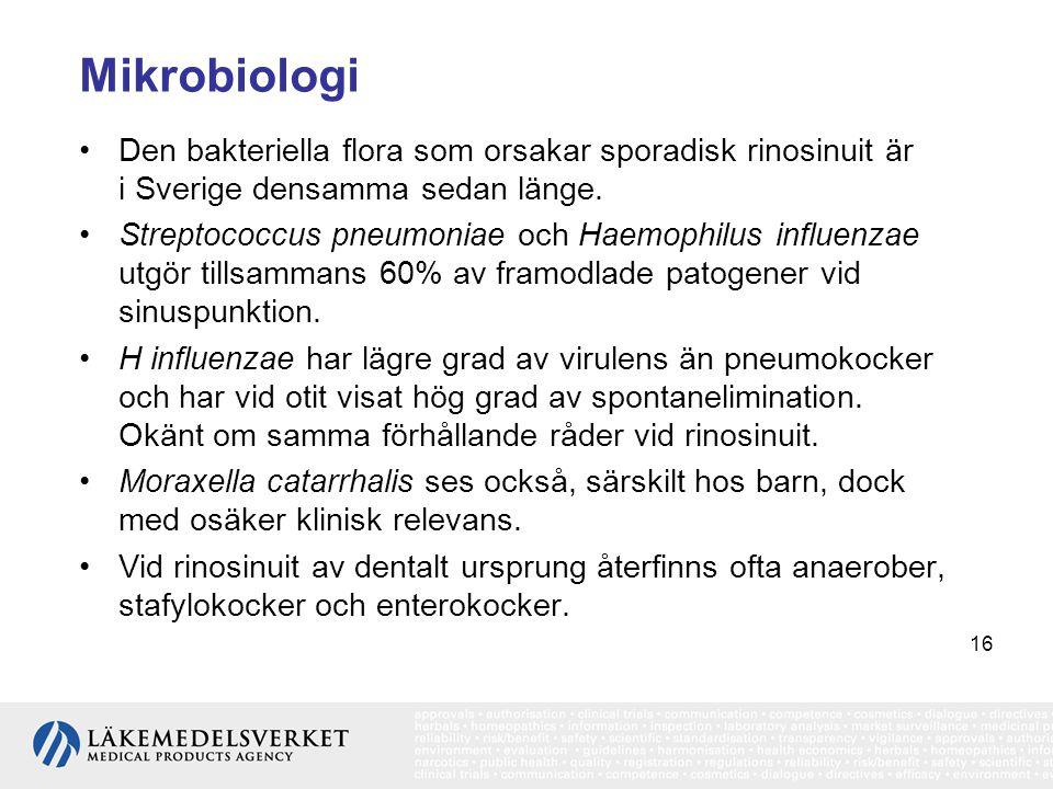 16 Mikrobiologi •Den bakteriella flora som orsakar sporadisk rinosinuit är i Sverige densamma sedan länge. •Streptococcus pneumoniae och Haemophilus i