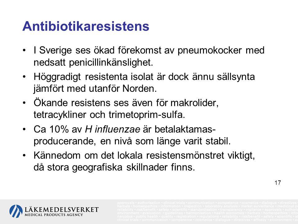 17 Antibiotikaresistens •I Sverige ses ökad förekomst av pneumokocker med nedsatt penicillinkänslighet. •Höggradigt resistenta isolat är dock ännu säl