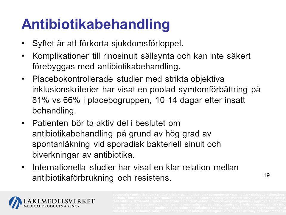 19 Antibiotikabehandling •Syftet är att förkorta sjukdomsförloppet. •Komplikationer till rinosinuit sällsynta och kan inte säkert förebyggas med antib