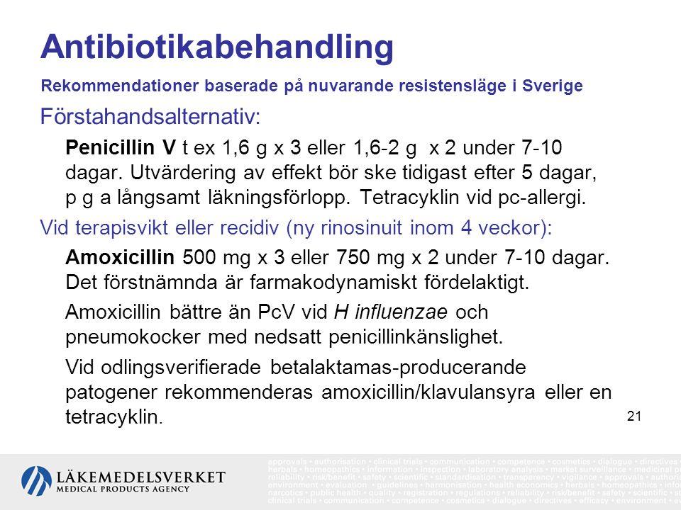21 Antibiotikabehandling Rekommendationer baserade på nuvarande resistensläge i Sverige Förstahandsalternativ: Penicillin V t ex 1,6 g x 3 eller 1,6-2