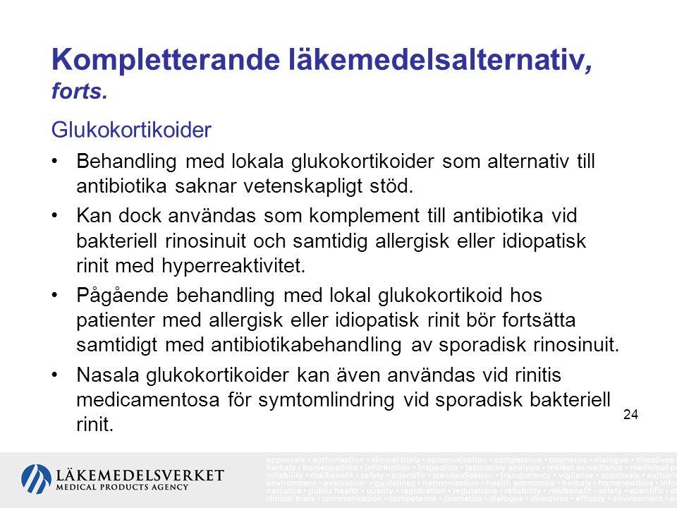 24 Kompletterande läkemedelsalternativ, forts. Glukokortikoider •Behandling med lokala glukokortikoider som alternativ till antibiotika saknar vetensk
