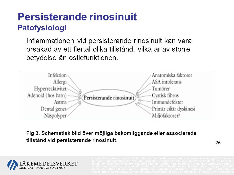 26 Persisterande rinosinuit Patofysiologi Inflammationen vid persisterande rinosinuit kan vara orsakad av ett flertal olika tillstånd, vilka är av stö