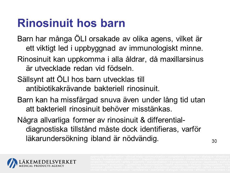 30 Rinosinuit hos barn Barn har många ÖLI orsakade av olika agens, vilket är ett viktigt led i uppbyggnad av immunologiskt minne. Rinosinuit kan uppko