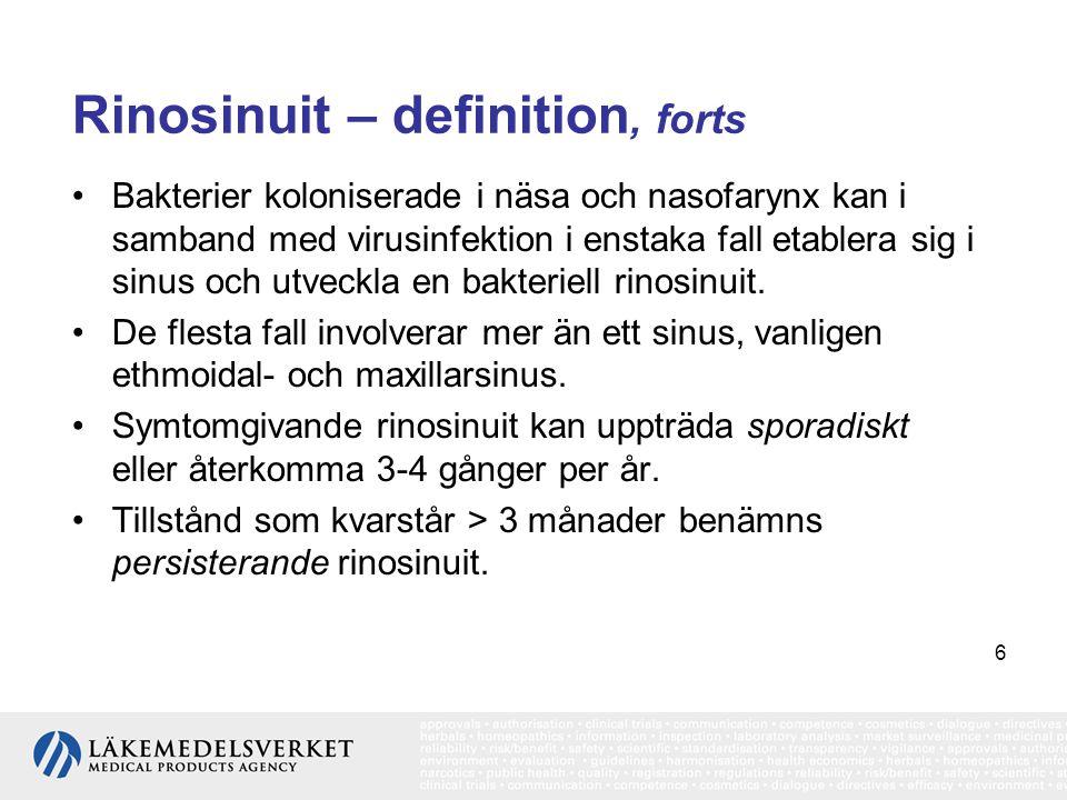 7 Sporadisk rinosinuit Epidemiologi •Årlig incidens av virala ÖLI med rinosinuit uppskattas till 2-3 för vuxna och 6-8 för barn.