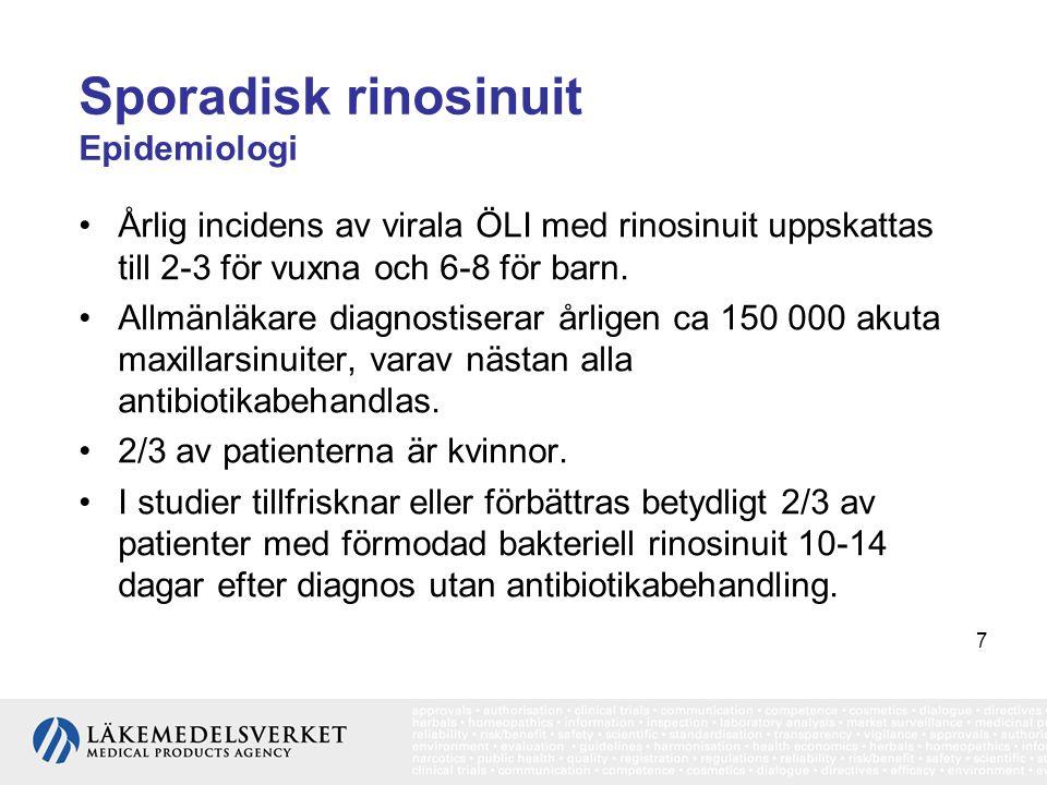7 Sporadisk rinosinuit Epidemiologi •Årlig incidens av virala ÖLI med rinosinuit uppskattas till 2-3 för vuxna och 6-8 för barn. •Allmänläkare diagnos