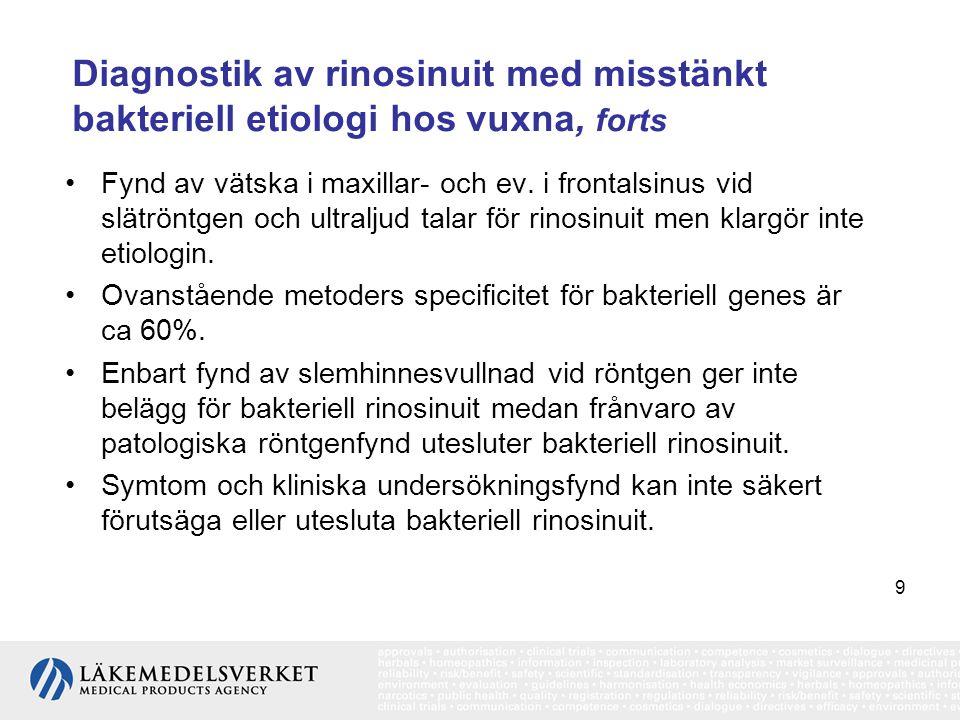 9 Diagnostik av rinosinuit med misstänkt bakteriell etiologi hos vuxna, forts •Fynd av vätska i maxillar- och ev. i frontalsinus vid slätröntgen och u