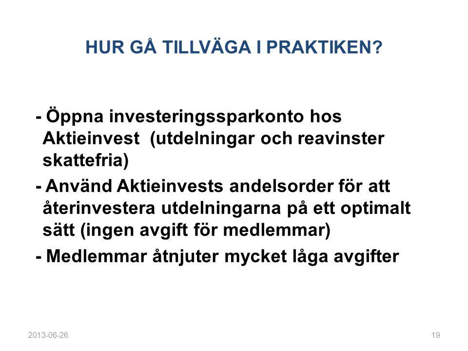 HUR GÅ TILLVÄGA I PRAKTIKEN? - Öppna investeringssparkonto hos Aktieinvest (utdelningar och reavinster skattefria) - Använd Aktieinvests andelsorder f