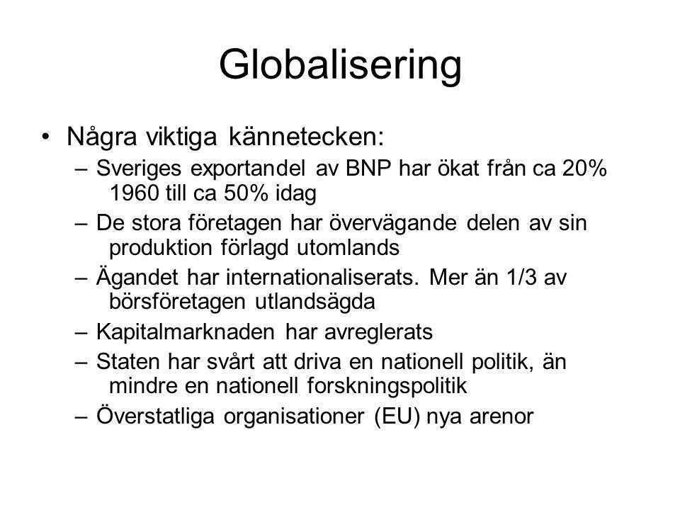 Globalisering •Några viktiga kännetecken: –Sveriges exportandel av BNP har ökat från ca 20% 1960 till ca 50% idag –De stora företagen har övervägande