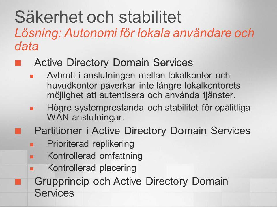 Säkerhet och stabilitet Lösning: Autonomi för lokala användare och data Active Directory Domain Services  Avbrott i anslutningen mellan lokalkontor och huvudkontor påverkar inte längre lokalkontorets möjlighet att autentisera och använda tjänster.