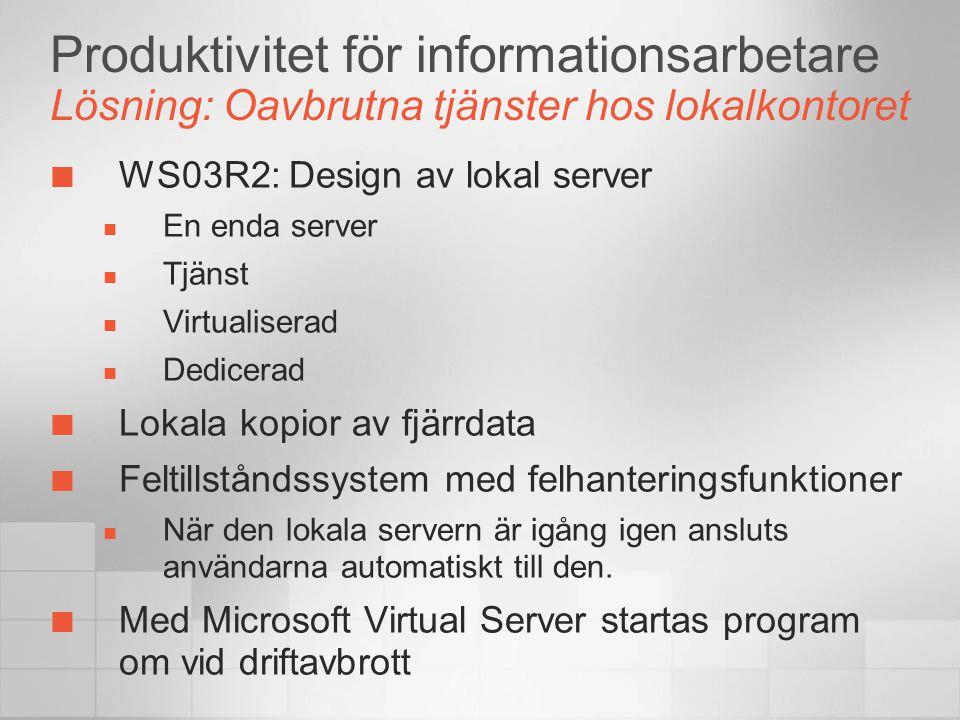 Produktivitet för informationsarbetare Lösning: Oavbrutna tjänster hos lokalkontoret WS03R2: Design av lokal server  En enda server  Tjänst  Virtua