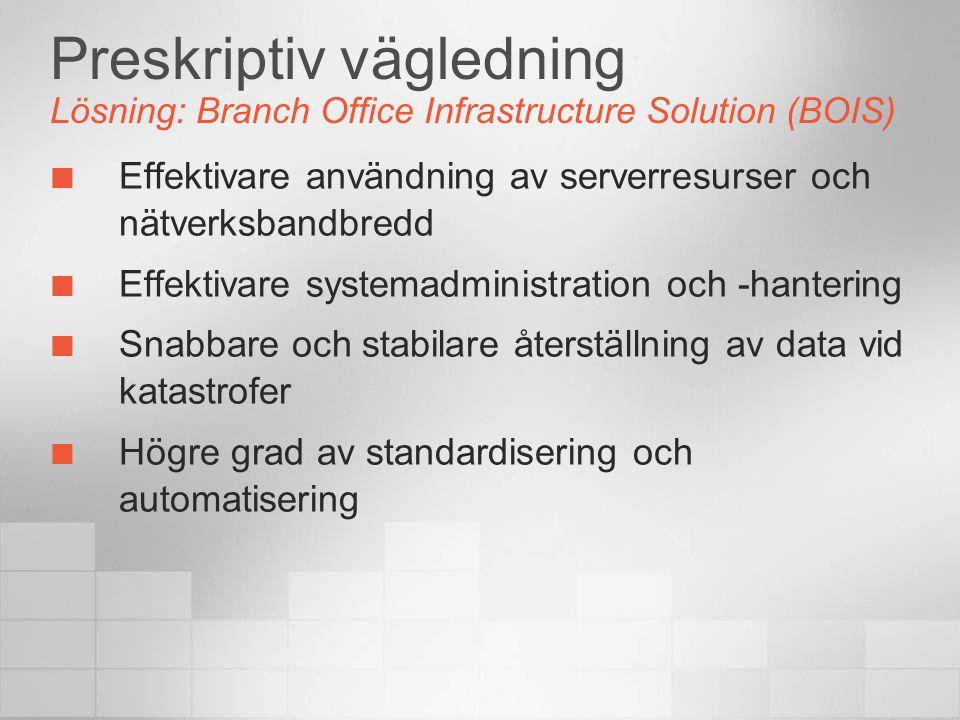 Preskriptiv vägledning Lösning: Branch Office Infrastructure Solution (BOIS) Effektivare användning av serverresurser och nätverksbandbredd Effektivare systemadministration och -hantering Snabbare och stabilare återställning av data vid katastrofer Högre grad av standardisering och automatisering