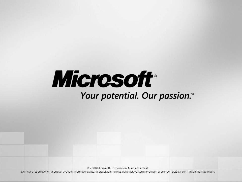 © 2006 Microsoft Corporation. Med ensamrätt. Den här presentationen är endast avsedd i informationssyfte. Microsoft lämnar inga garantier, varken uttr