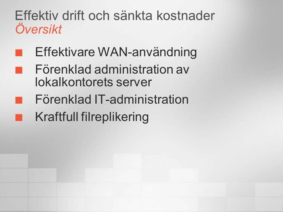 Effektiv drift och sänkta kostnader Översikt Effektivare WAN-användning Förenklad administration av lokalkontorets server Förenklad IT-administration Kraftfull filreplikering