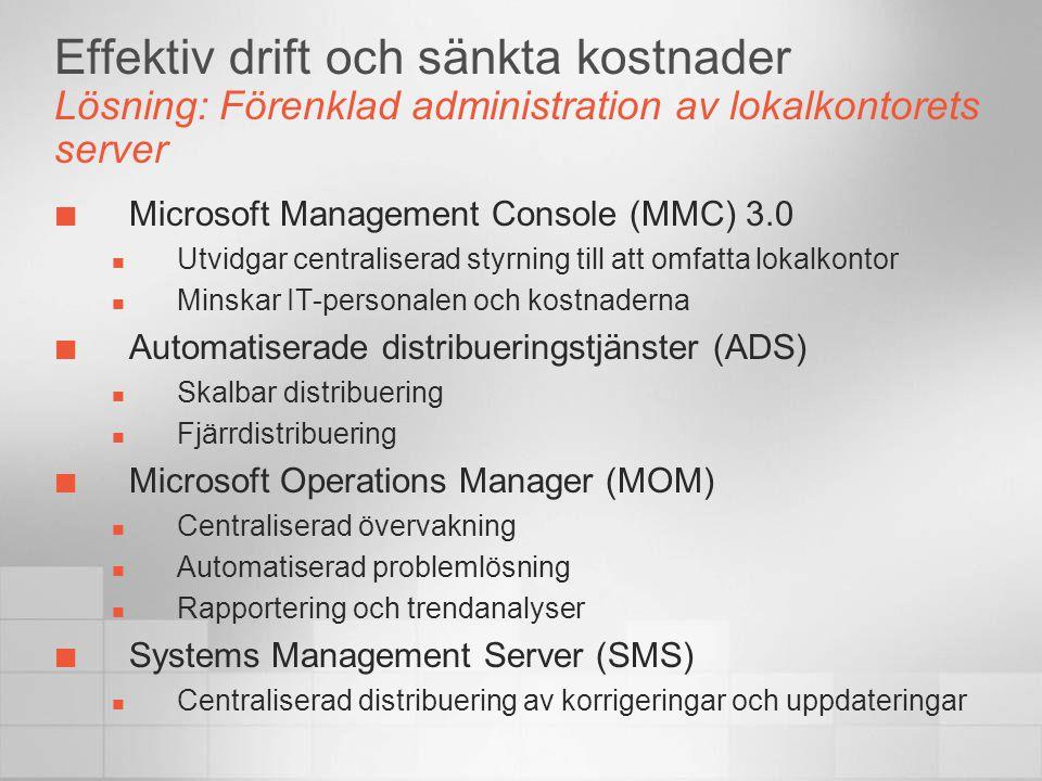Effektiv drift och sänkta kostnader Lösning: Förenklad administration av lokalkontorets server Microsoft Management Console (MMC) 3.0  Utvidgar centr