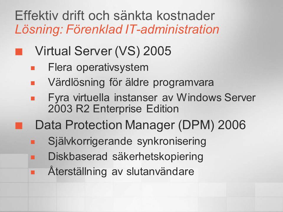 Effektiv drift och sänkta kostnader Lösning: Förenklad IT-administration Virtual Server (VS) 2005  Flera operativsystem  Värdlösning för äldre progr