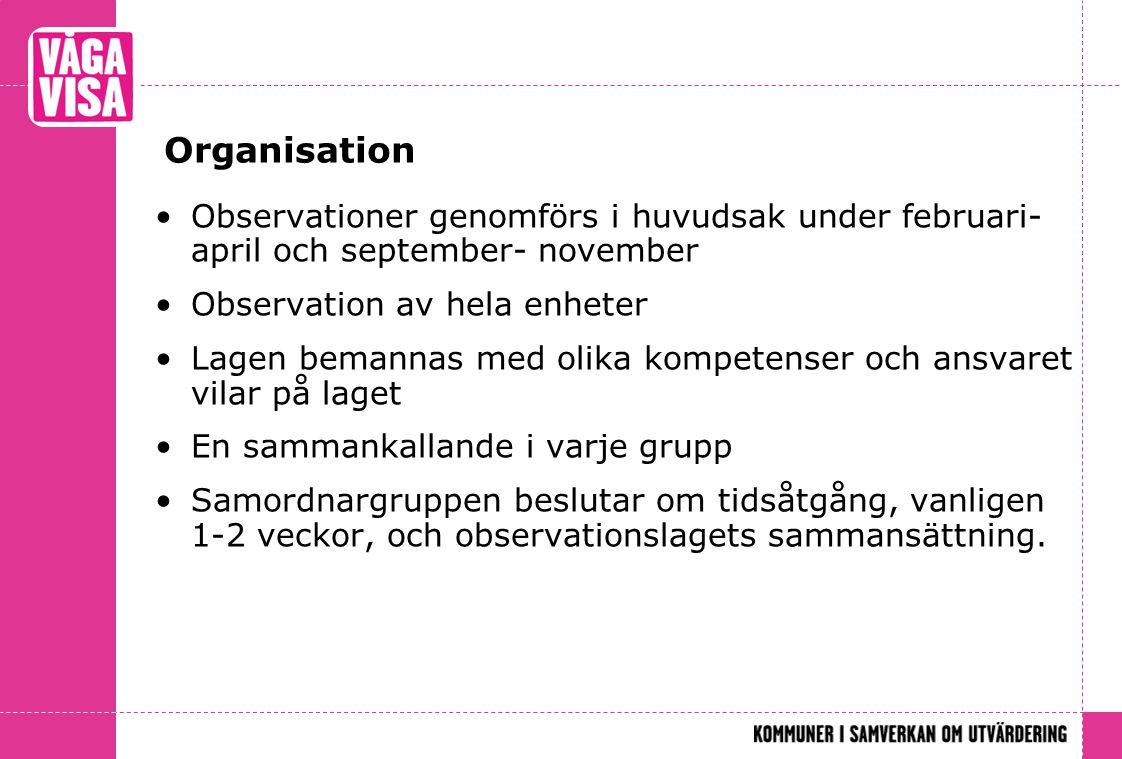Organisation •Observationer genomförs i huvudsak under februari- april och september- november •Observation av hela enheter •Lagen bemannas med olika