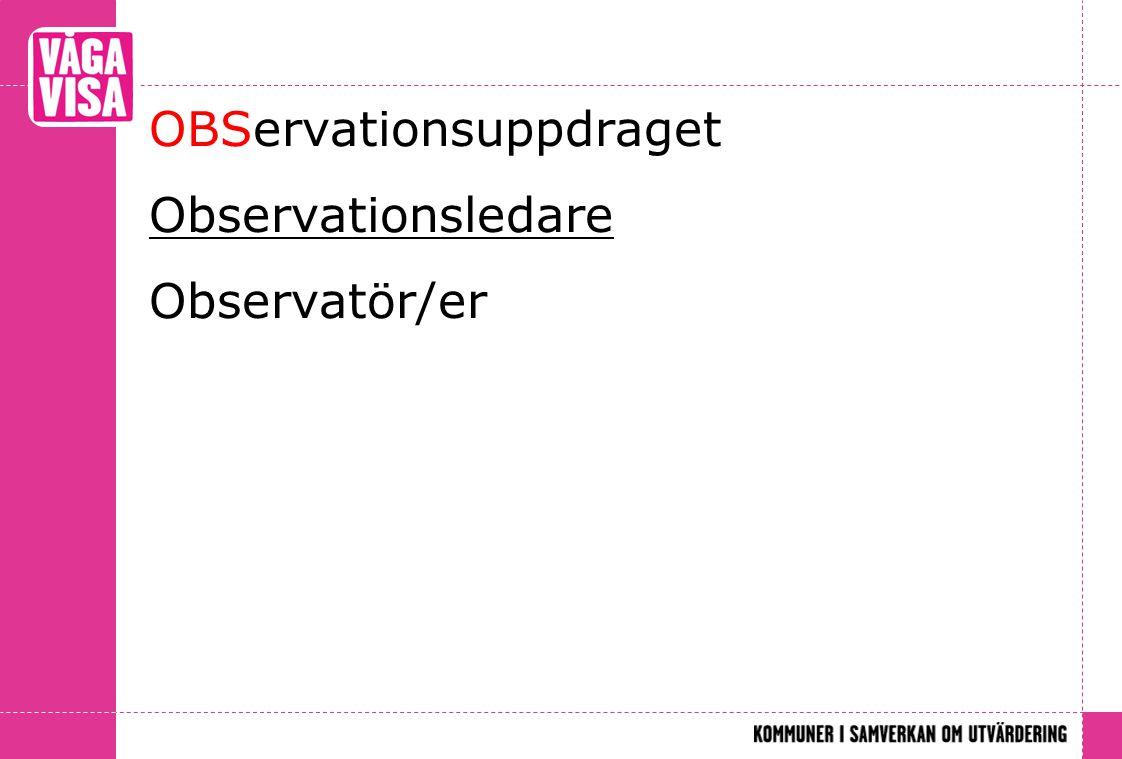 OBServationsuppdraget Observationsledare Observatör/er