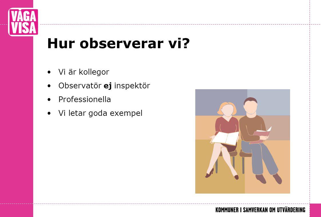 Hur observerar vi? •Vi är kollegor •Observatör ej inspektör •Professionella •Vi letar goda exempel