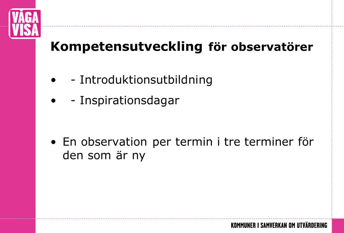 Kompetensutveckling för observatörer • - Introduktionsutbildning • - Inspirationsdagar •En observation per termin i tre terminer för den som är ny