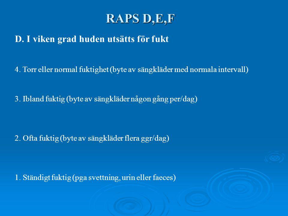 RAPS D,E,F D. I viken grad huden utsätts för fukt 4. Torr eller normal fuktighet (byte av sängkläder med normala intervall) 3. Ibland fuktig (byte av