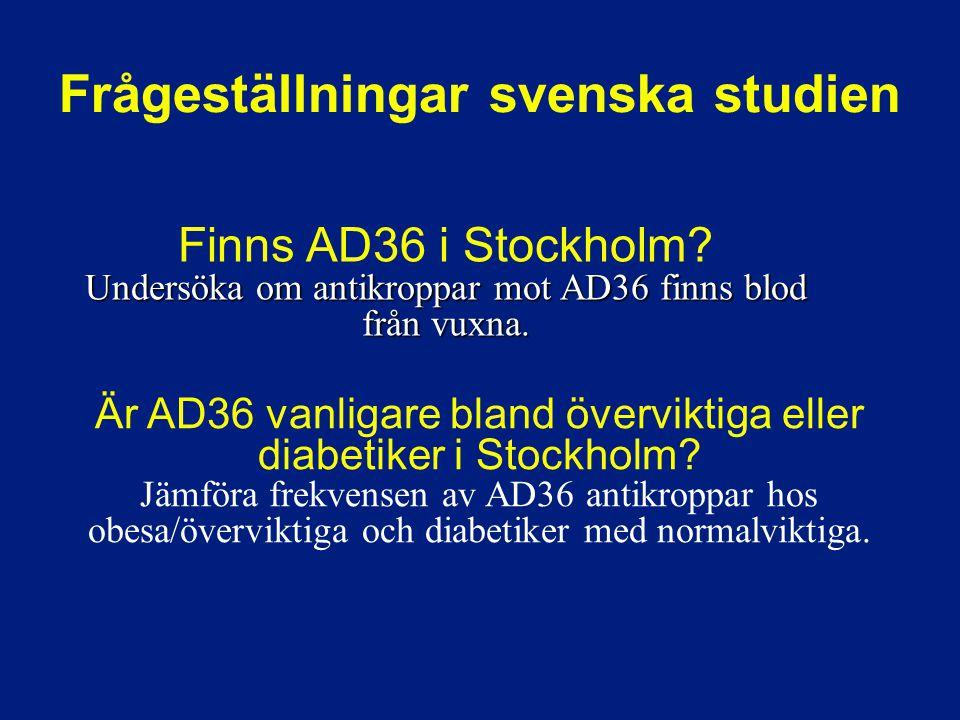 Undersöka om antikroppar mot AD36 finns blod från vuxna. Finns AD36 i Stockholm? Undersöka om antikroppar mot AD36 finns blod från vuxna. Är AD36 vanl