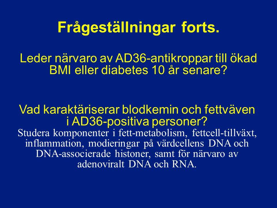 Vad karaktäriserar blodkemin och fettväven i AD36-positiva personer? Studera komponenter i fett-metabolism, fettcell-tillväxt, inflammation, modiering
