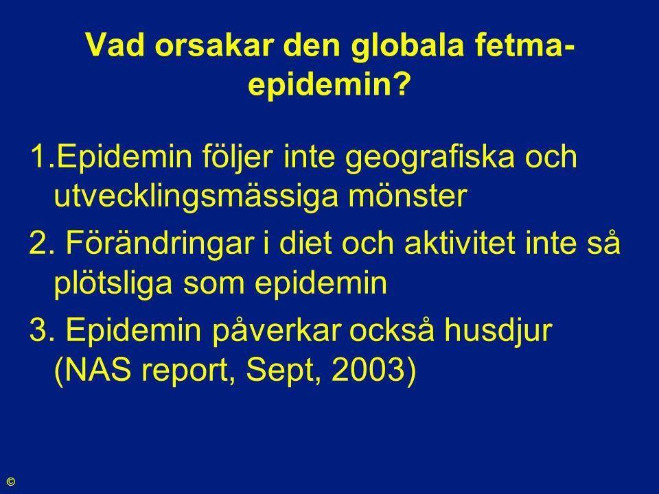 Vad orsakar den globala fetma- epidemin? 1.Epidemin följer inte geografiska och utvecklingsmässiga mönster 2. Förändringar i diet och aktivitet inte s
