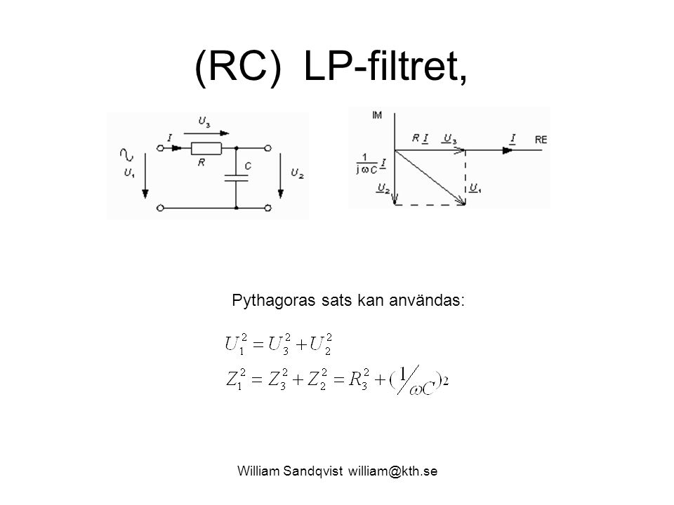 William Sandqvist william@kth.se (RC) LP-filtret, Pythagoras sats kan användas: