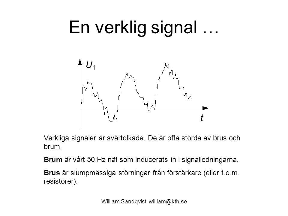 William Sandqvist william@kth.se En verklig signal … Verkliga signaler är svårtolkade. De är ofta störda av brus och brum. Brum är vårt 50 Hz nät som