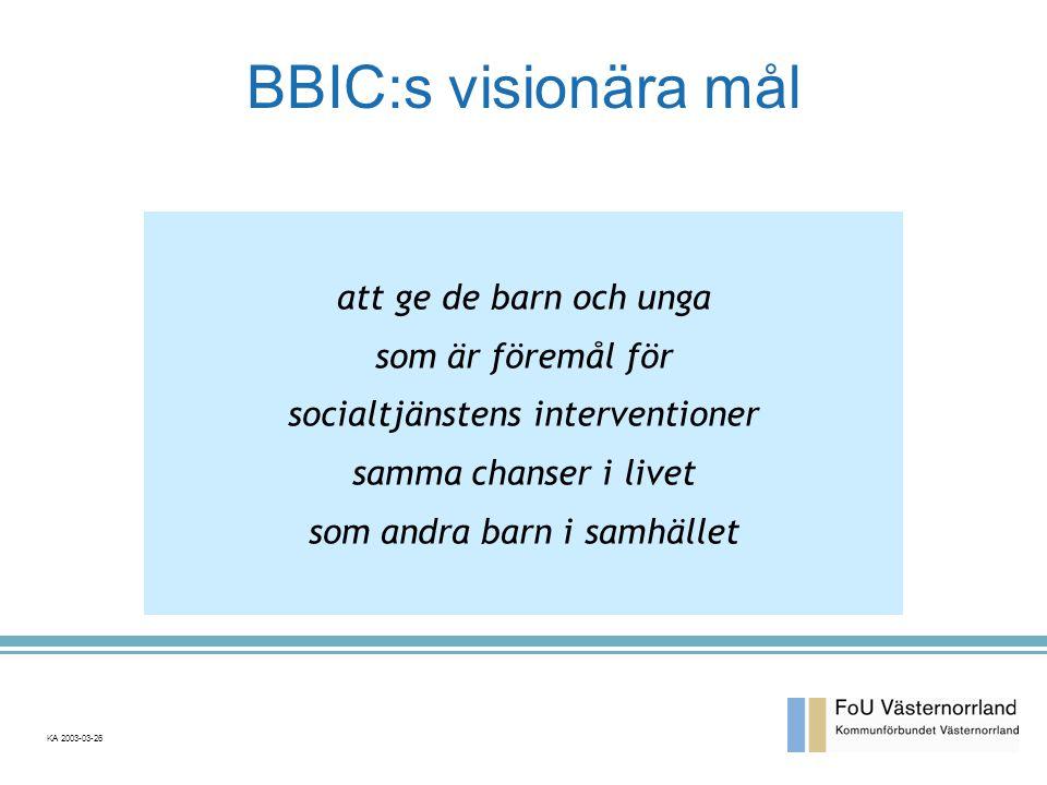 BBIC:s visionära mål att ge de barn och unga som är föremål för socialtjänstens interventioner samma chanser i livet som andra barn i samhället KA 2003-03-26