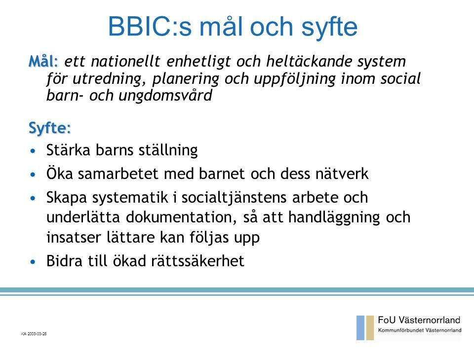 BBIC:s mål och syfte Mål: Mål: ett nationellt enhetligt och heltäckande system för utredning, planering och uppföljning inom social barn- och ungdomsvård Syfte: •Stärka barns ställning •Öka samarbetet med barnet och dess nätverk •Skapa systematik i socialtjänstens arbete och underlätta dokumentation, så att handläggning och insatser lättare kan följas upp •Bidra till ökad rättssäkerhet KA 2003-03-26