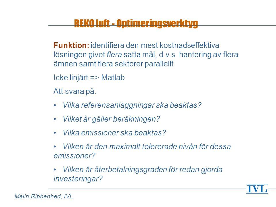 REKO luft - Optimeringsverktyg Funktion: identifiera den mest kostnadseffektiva lösningen givet flera satta mål, d.v.s.