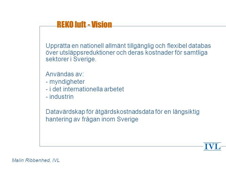 REKO luft - Vision Upprätta en nationell allmänt tillgänglig och flexibel databas över utsläppsreduktioner och deras kostnader för samtliga sektorer i Sverige.