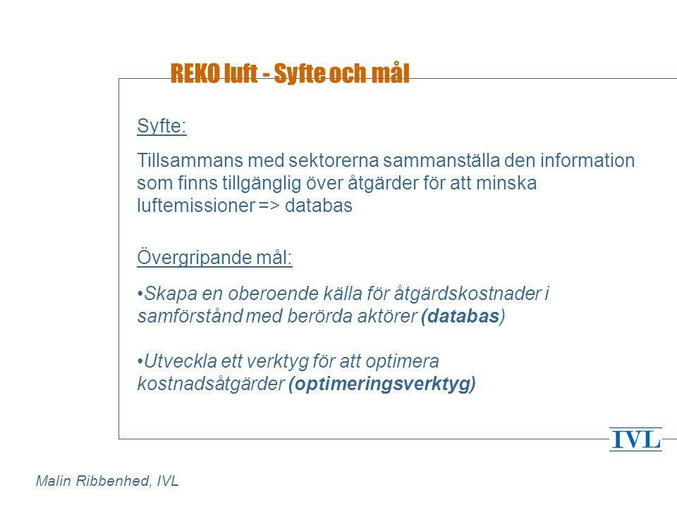 REKO luft - Syfte och mål Syfte: Tillsammans med sektorerna sammanställa den information som finns tillgänglig över åtgärder för att minska luftemissioner => databas Övergripande mål: •Skapa en oberoende källa för åtgärdskostnader i samförstånd med berörda aktörer (databas) •Utveckla ett verktyg för att optimera kostnadsåtgärder (optimeringsverktyg) Malin Ribbenhed, IVL