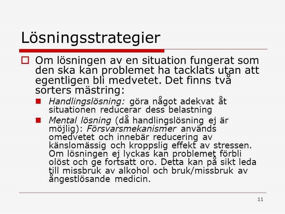 11 Lösningsstrategier  Om lösningen av en situation fungerat som den ska kan problemet ha tacklats utan att egentligen bli medvetet. Det finns två so