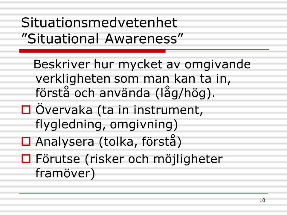 """18 Situationsmedvetenhet """"Situational Awareness"""" Beskriver hur mycket av omgivande verkligheten som man kan ta in, förstå och använda (låg/hög).  Öve"""