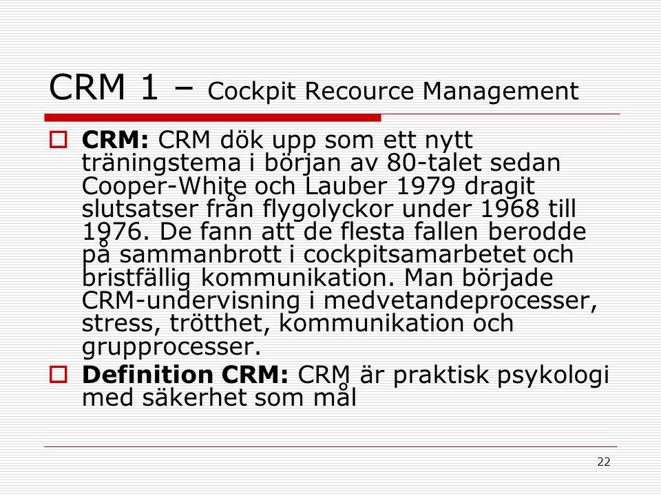 22 CRM 1 – Cockpit Recource Management  CRM: CRM dök upp som ett nytt träningstema i början av 80-talet sedan Cooper-White och Lauber 1979 dragit slu