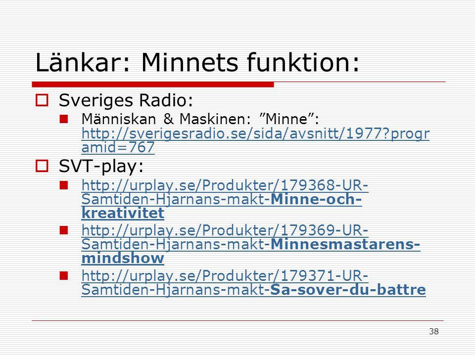 """38 Länkar: Minnets funktion:  Sveriges Radio:  Människan & Maskinen: """"Minne"""": http://sverigesradio.se/sida/avsnitt/1977?progr amid=767 http://sverig"""