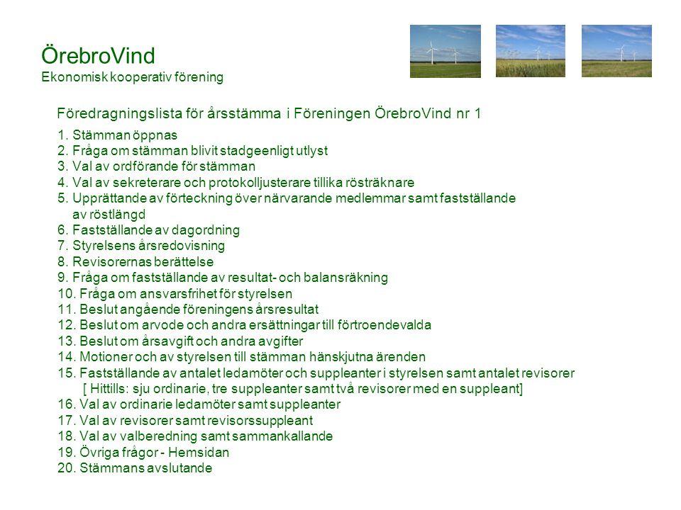 ÖrebroVind Ekonomisk kooperativ förening 1.Stämman öppnas 2.