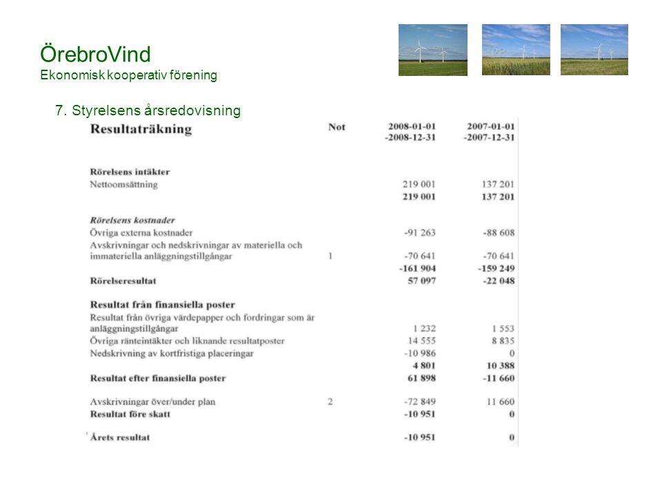ÖrebroVind Ekonomisk kooperativ förening 7. Styrelsens årsredovisning