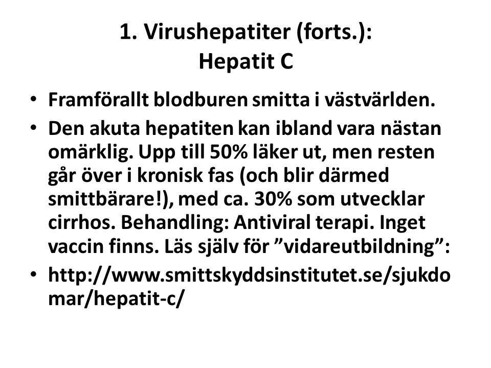 1. Virushepatiter (forts.): Hepatit C • Framförallt blodburen smitta i västvärlden. • Den akuta hepatiten kan ibland vara nästan omärklig. Upp till 50