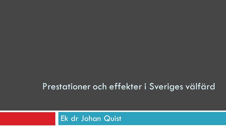 Prestationer och effekter i Sveriges välfärd Ek dr Johan Quist