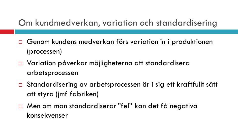 Om kundmedverkan, variation och standardisering  Genom kundens medverkan förs variation in i produktionen (processen)  Variation påverkar möjlighete