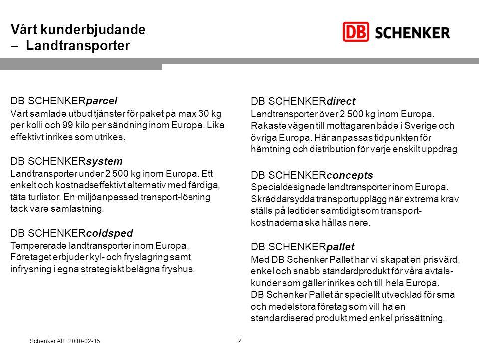 Vårt kunderbjudande – Landtransporter DB SCHENKERparcel Vårt samlade utbud tjänster för paket på max 30 kg per kolli och 99 kilo per sändning inom Eur